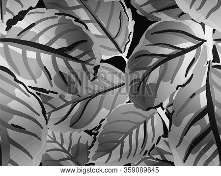Romantic Botanical Vector Background. Painted English Rose Leaf Patterns Collection. Rose Leaves Sea