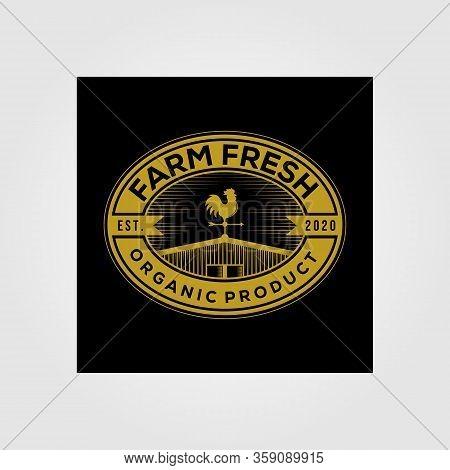 Vintage Barn Farm Fresh Logo Organic Product Vector Illustration On Dark Background
