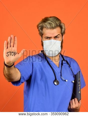 Just Stop And Think. Prevent Infection Disease. Coronavirus Epidemic From China. Defense Gesture. Sa