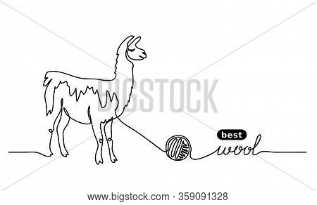 Lama Best, Finest Wool. Vector Label Design, Simple Background. One Continuous Line Drawing Of Lama