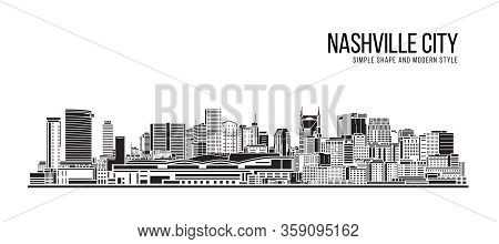 Cityscape Building Abstract Simple Shape And Modern Style Art Vector Design - Nashville City