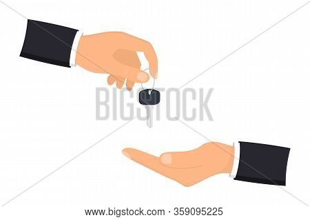 Hand Giving House Keys To Customer. Businessman In Suit Giving House Key. Mortgage, Credit Or Proper