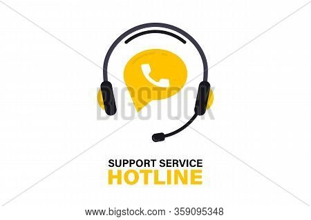 Hotline Support Service With Headphones. Call Center, Hotline Concept Of Client Network For Ecommerc