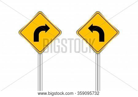 Road Sign Of Arrow Pointing Bend To Left And Right, Traffic Road Sign Yellow Isolated On White, Traf
