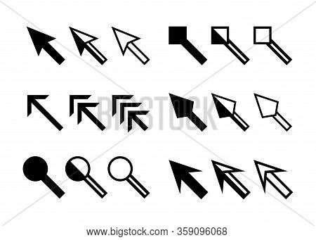 Cursor Icon Arrow Set Isolated On White, Black Arrow Symbol For Pointer Sign, Collection Arrow Symbo