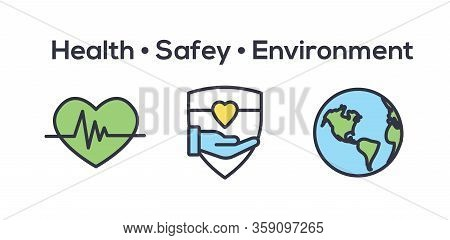 Health Safety And Environment Icon Set  W Medical, Safety, And Leaves Icons