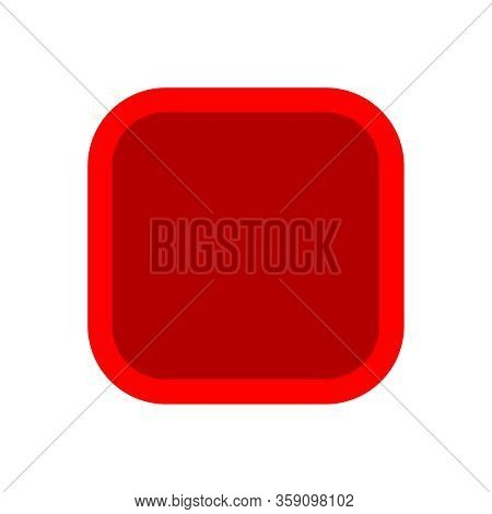 Button Square Shape Red For Buttons Games Play Isolated On White, Red Modern Buttons Square Simple,