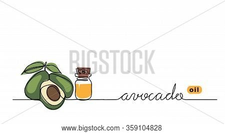 Avocado Oil In The Glass Bottle. Avocado Color Leaf, Brunch. Vector One Continuous Line Drawing Back