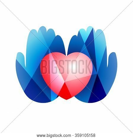 Heart In Hands Logo Concept. Creative Sign In Stained Glass Style. Human Palms And 3d Heart Shape. A