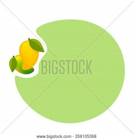 Mango Ripe Fruit Cute And Circle Frame Copy Space Text, Clip Art Of Yellow Mango For Banner Ad, Mang