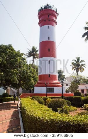 Alapuzha, Kerala, India-january 29, 2019. The Main Attraction Of Alapuzha Is The Lighthouse. High Re