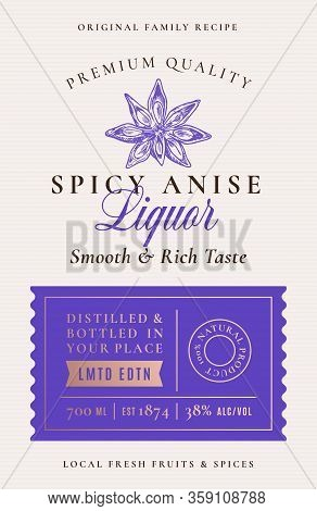 Family Recipe Anise Liquor Acohol Label. Abstract Vector Packaging Design Layout. Modern Typography