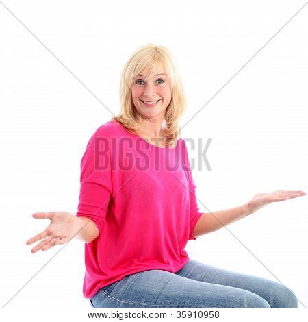 Unconcerned Woman Shrugging Her Shoulders
