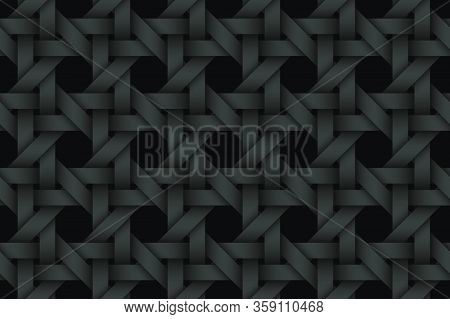 Black Seamless Decorative Pattern Of Woven Stripes. Vector Dark Texture Repeating Geometric Backgrou
