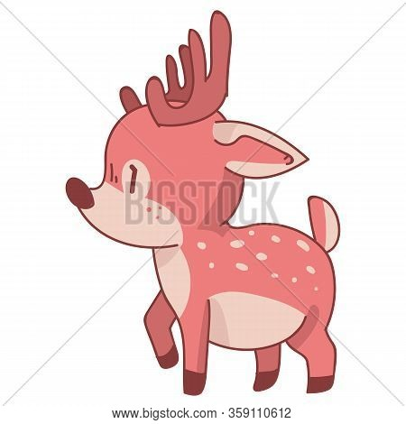 Pink Kawaii Cartoon Deer Animal Illustration. Pink Girly Doe With Flower Crown. Childish Hand Drawn