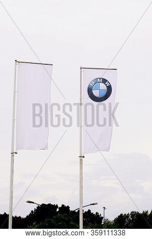 Bordeaux , Aquitaine / France - 10 14 2019 : Bmw Dealership Sign Logo Flag Car One Of Best Selling L