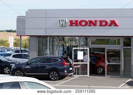 Bordeaux , Aquitaine / France - 10 27 2019 : Honda Dealership Sign Car Showroom Store Japanese Autom