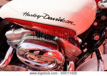 Bordeaux , Aquitaine / France - 10 27 2019 : Harley-davidson Logo On Tank Motorcycle Detail Harley D