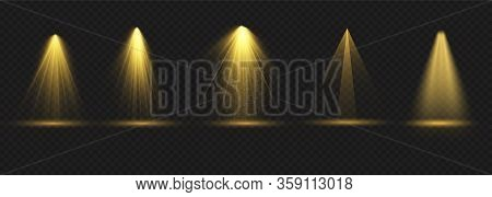 Set Of Spotlight Isolated On Transparent Background.floodlight Beam,illuminated Spotlights For Web D