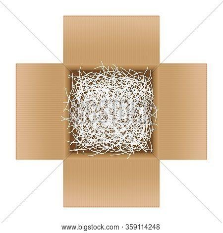 White Shredded Paper In Cardboard Box Brown Open For Gift Pack, Shredded Paper In The Box Brown Top