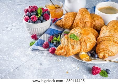 Sweet Breakfast Croissants With Jam And Berries