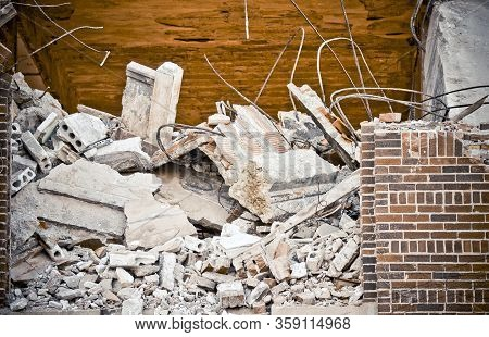 Fallen Rubble From A Brick And Concrete Building