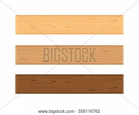 Wood Plank Board Isolated On White Background, Horizontal Plank, Planks Wood Brown Various Types Ver