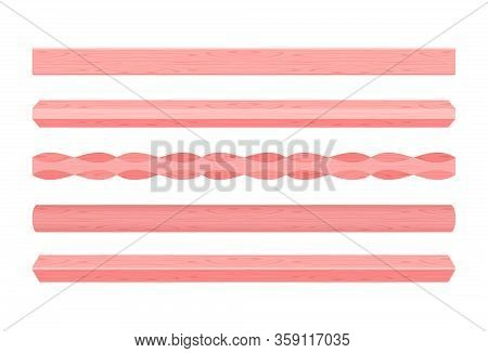 Wooden Vertical Lath Different Red Pastel Soft Colors Isolated On White Background, Wooden Slat Pole