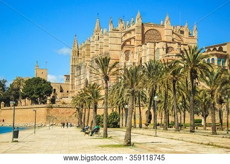 Palma, Mallorca / Spain - March 26 2018: Cathedral Of Santa Maria Of Palma Also Known As La Seu, Loc