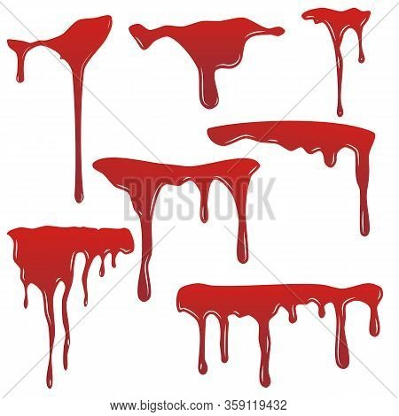 Collection Various Blood Or Paint Splatters,ink Splatter Background, Isolated On White.