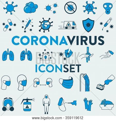 Set Of 30 Vector Icons Of A Medicine, Health, Corona Virus And Hygiene Related Objects. It Represent