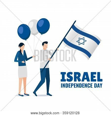 Vector Illustration Of Independence Day Of Israel. People Hold The Flag And Balloons. Flat Style.