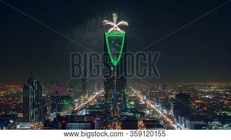 Riyadh Celebration Fireworks - Saudi Arabia Riyadh Landscape At Night - Kingdom Tower – Riyadh Skyli