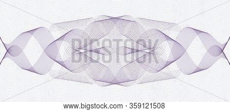 Dark Purple Ornament On Wavy Light Pink Lines. Line Art Symmetric Guilloche. Watermark Pattern. Squi