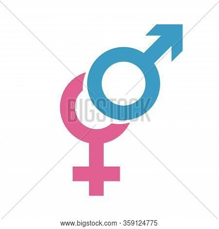 Gender Equal Sign Vector Icon. Men And Women Equal Concept Icon On White Background. Female And Male