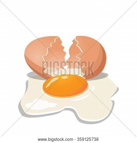 Fresh Chicken Egg Have Crack With Yolk And Eggshell On White Background. Baking And Cooking Ingredie