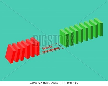 Vector Illustration Of Social Distancing Concept Space Or Gaps To Prevent Domino Effects From Corona