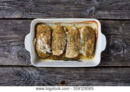 Chicken Fillets Baked With American Classic Ranch Seasoning Of Dried Dill, Dried Parsley, Onion Powd