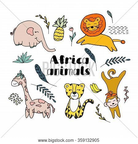 Set Of Africa Animals Isolated On White Background. Lion, Elephant, Monkey, Tiger, Giraffe, Pineappl