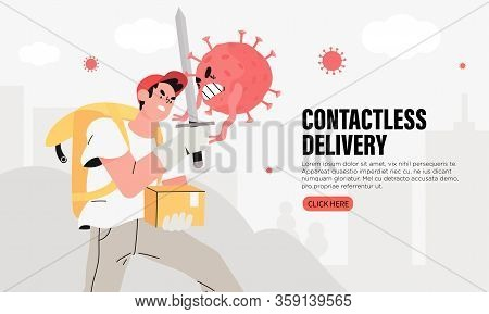 Brave Courier Man With A Parcel Or Package And Thermal Box Contactlessly Transfers The Order And Fig