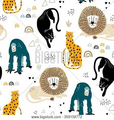 Seamless Jungle Pattern With African Animals, Panther, Lion, Orangutan, Cheetah And Hand Drawn Textu