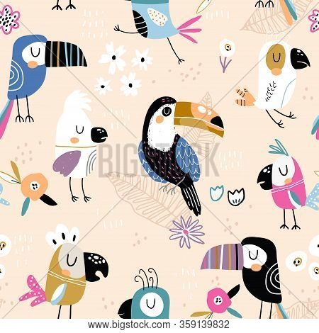 Seamless Childish Pattern With Colorful Parrots And Toucans. Creative Scandinavian Style Kids Textur