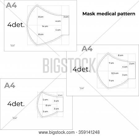 Reusable Medical Mask Template Against Influenza Viruses. Instructions For Printing A4 Format. Diy S