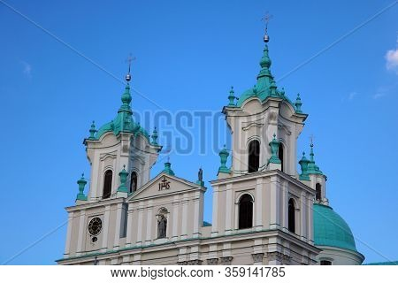 Famous Landmark Is St. Francis Xavier Cathedral In Grodno. Best Destination For Summer Vacation In E