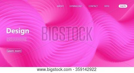 Pink Wave. Fluid Flow. Landing Page. 3d Fluid Poster. Abstract Flow. Trendy Poster. 3d Fluid Vector.