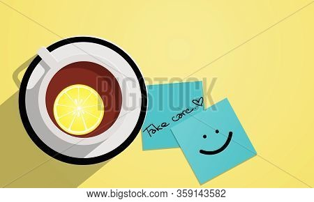 Lemon Tea In A White Cup Top View Background And Take Care Text On Blue Paper.