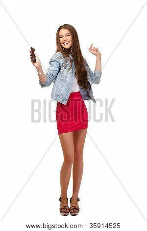 Happy Teenager Dancing Isolated On White