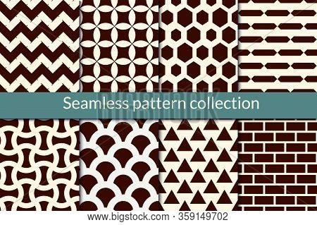 Classic Geometric Seamless Pattern Collection. Geo Background Set. Zig Zag Lines, Hexagons, Triangle
