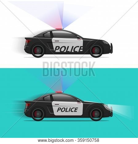 Police Car Vector Moving Fast With Siren Flasher Light Or Patrol Vehicle Side View Isolated Flat Car