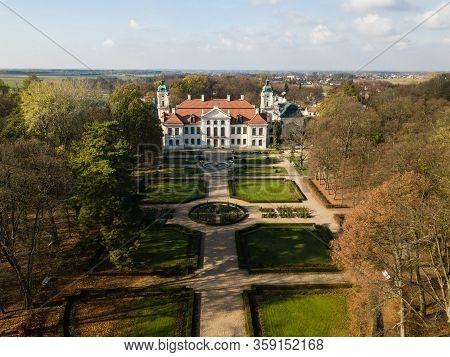 Kozlowka, Poland - October 31, 2019: Aerial Autumn View To Zamoyski Palace In Kozlowka. Rococo And N